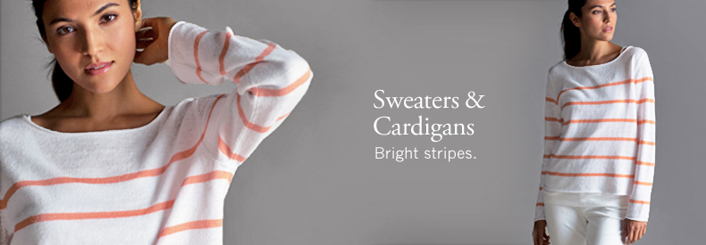 Sweaters and Cardigans. Bright stripes